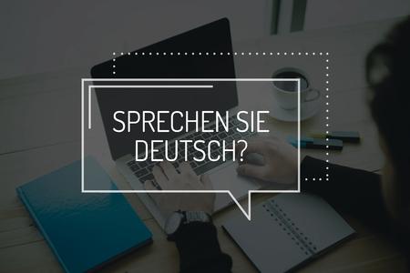 deutsch: COMMUNICATION WORKING TECHNOLOGY EDUCATION SPRECHEN SIE DEUTSCH? CONCEPT Stock Photo