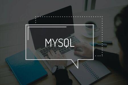 mysql: COMMUNICATION WORKING TECHNOLOGY  MYSQL CONCEPT Stock Photo