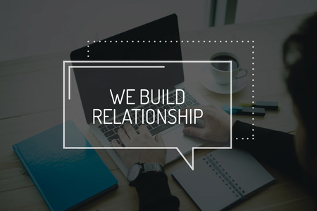 social grace: COMMUNICATION WORKING TECHNOLOGY BUSINESS WE BUILD RELATIONSHIP CONCEPT Stock Photo