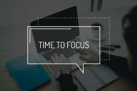 distinctness: COMMUNICATION WORKING TECHNOLOGY BUSINESS TIME TO FOCUS CONCEPT Stock Photo