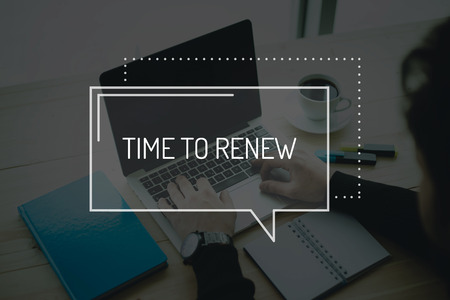 renew: COMMUNICATION WORKING TECHNOLOGY BUSINESS TIME TO RENEW CONCEPT Stock Photo