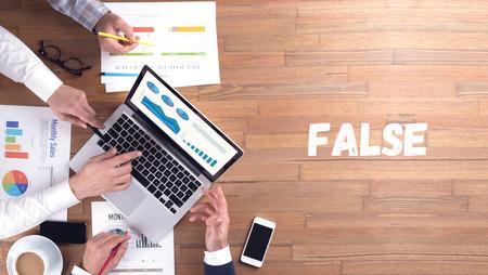 untrue: False CONCEPT Stock Photo