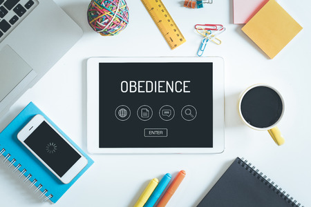obedience: OBEDIENCE Concept on Tablet PC Screen with Icons Foto de archivo