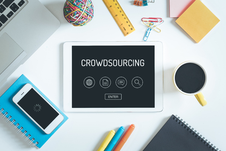 crowdsourcing: CROWDSOURCING Concept on Tablet PC Screen with Icons