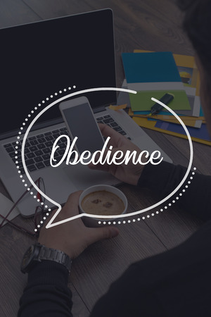 obedience: BUSINESS COMMUNICATION WORKING TECHNOLOGY OBEDIENCE CONCEPT Stock Photo