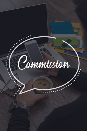 commission: BUSINESS COMMUNICATION WORKING TECHNOLOGY COMMISSION CONCEPT Stock Photo