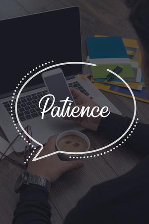 paciencia: COMUNICACIÓN DE TRABAJO DE LA TECNOLOGÍA DE NEGOCIO Concepto de la paciencia Foto de archivo
