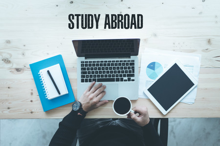 COMMUNICATION TECHNOLOGY EDUCATION AND  STUDY ABROAD CONCEPT Stock Photo