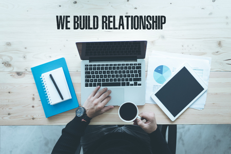 social grace: COMMUNICATION TECHNOLOGY BUSINESS AND WE BUILD RELATIONSHIP CONCEPT Stock Photo