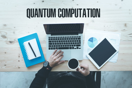 computation: COMMUNICATION TECHNOLOGY EDUCATION AND  QUANTUM COMPUTATION CONCEPT Stock Photo