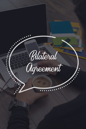technology agreement: BUSINESS COMMUNICATION WORKING TECHNOLOGY BILATERAL AGREEMENT CONCEPT Stock Photo