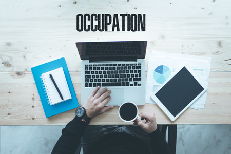 communication occupation: COMMUNICATION TECHNOLOGY BUSINESS AND OCCUPATION CONCEPT Stock Photo