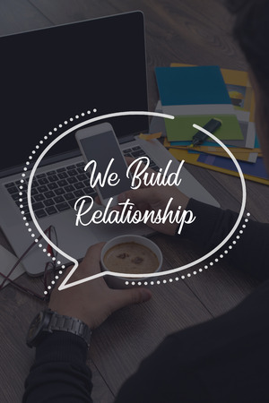 social grace: BUSINESS COMMUNICATION WORKING TECHNOLOGY WE BUILD RELATIONSHIP CONCEPT Stock Photo