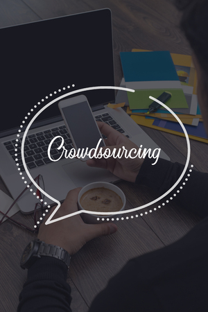 crowdsourcing: BUSINESS COMMUNICATION WORKING TECHNOLOGY CROWDSOURCING CONCEPT Stock Photo
