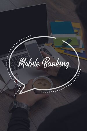 mobile communication: BUSINESS COMMUNICATION WORKING TECHNOLOGY MOBILE BANKING CONCEPT Stock Photo