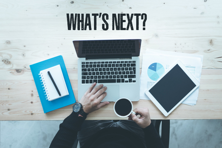 what's ahead: COMMUNICATION TECHNOLOGY BUSINESS AND WHATS NEXT? CONCEPT Stock Photo