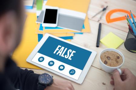 untrue: SHOWING FALSE SCREEN Stock Photo