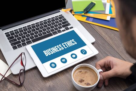 morality: BUSINESS ETHICS SCREEN CONCEPT Stock Photo