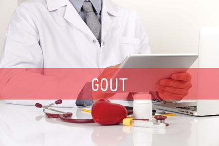 gout: HEALTHCARE AND MEDICAL CONCEPT: GOUT Stock Photo