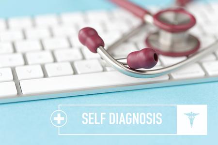 HEALTHCARE AND MEDICAL CONCEPT: SELF DIAGNOSIS Stock Photo