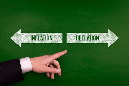 Blackboard showing directions to the inflation and deflation
