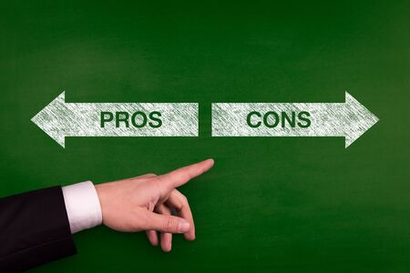 Blackboard showing directions to the pros and cons Stock Photo