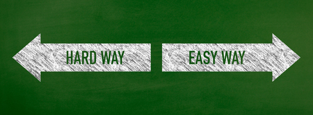 Blackboard showing directions to the hardway and easyway