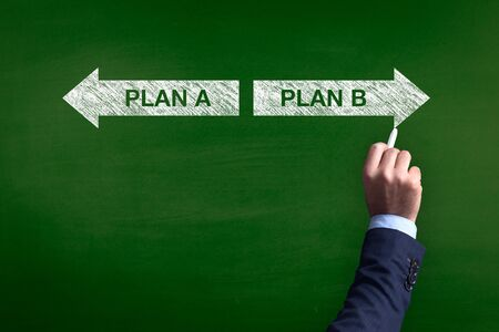 guidepost: Blackboard showing directions to the plan a and plan b