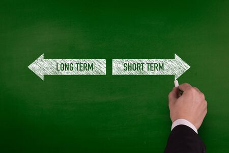marketingplan: Blackboard showing directions to the longterm and shortterm