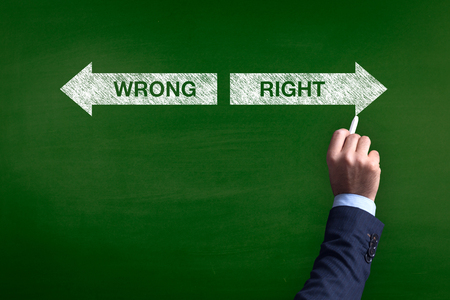 Blackboard showing directions to the wrong and right