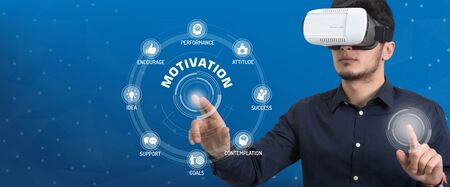 motivation icon: Future Technology and Business Concept: The Man with Glasses of Virtual Reality and touching MOTIVATION icon set