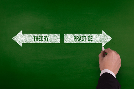 Blackboard showing directions to the theory and practice Stock Photo