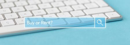 buying questions: Search Engine Concept: Searching BUY OR RENT? word on internet Stock Photo