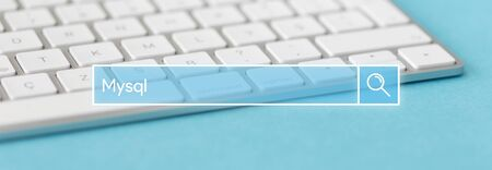 mysql: TECHNOLOGY AND INTERNET CONCEPT: SEARCHING MYSQL ON WEB Stock Photo