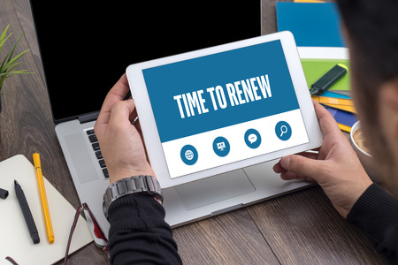 replenishing: TIME TO RENEW SCREEN CONCEPT Stock Photo