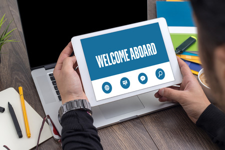 aboard: WELCOME ABOARD SCREEN CONCEPT Stock Photo