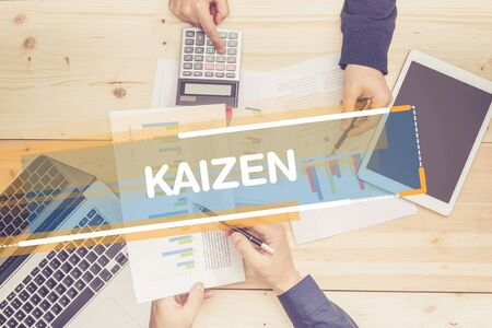 BUSINESS TEAM WORKING OFFICE KAIZEN CONCEPT