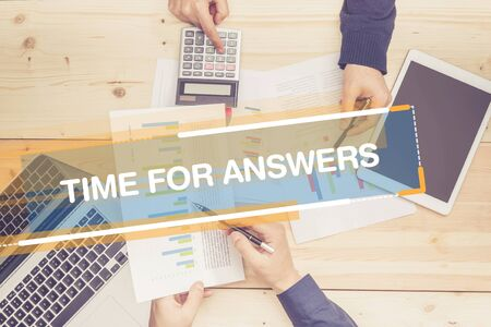 questionably: BUSINESS TEAM WORKING OFFICE TIME FOR ANSWERS CONCEPT Stock Photo