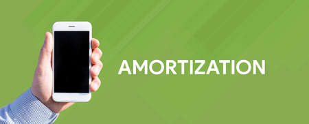 Smart phone in hand front of green background and written AMORTIZATION