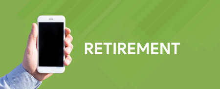 Smart phone in hand front of green background and written RETIREMENT