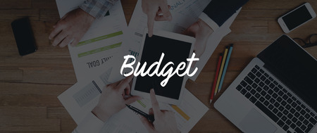 deficit target: TECHNOLOGY INTERNET TEAMWORK BUDGET CONCEPT Stock Photo