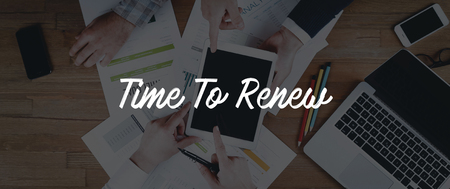 to renew: TECHNOLOGY INTERNET TEAMWORK TIME TO RENEW CONCEPT Stock Photo