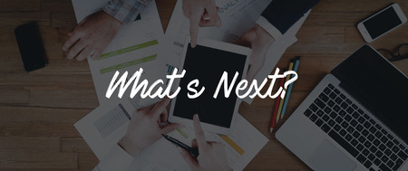 what's ahead: TECHNOLOGY INTERNET TEAMWORK WHATS NEXT? CONCEPT Stock Photo