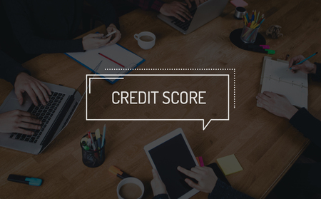 creditworthiness: BUSINESS TEAMWORK WORKING OFFICE BRAINSTORMING CREDIT SCORE CONCEPT Stock Photo