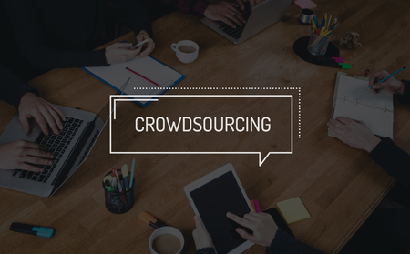 crowd source: BUSINESS TEAMWORK WORKING OFFICE BRAINSTORMING CROWDSOURCING CONCEPT Stock Photo