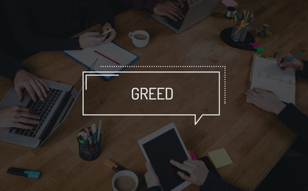 avid: BUSINESS TEAMWORK WORKING OFFICE BRAINSTORMING GREED CONCEPT Stock Photo