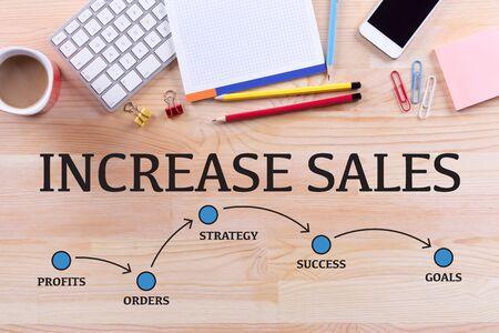 increase sales: INCREASE SALES MILESTONES CONCEPT Stock Photo