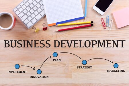 smart goals: BUSINESS DEVELOPMENT MILESTONES CONCEPT Stock Photo