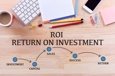 stock market return: ROI RETURN ON INVESTMENT MILESTONES CONCEPT