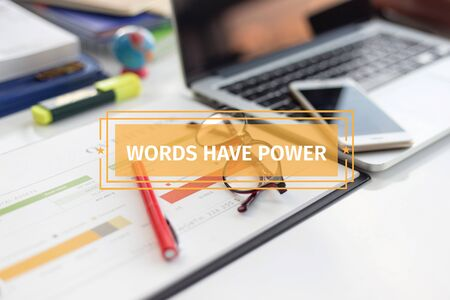 persuade: BUSINESS CONCEPT: WORDS HAVE POWER Stock Photo